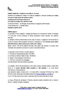 Call for papers - Università degli Studi di Roma Tor Vergata