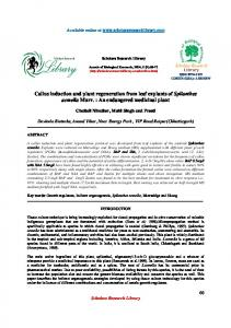 Callus induction and plant regeneration from leaf explants of ...