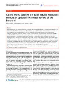 Calorie menu labeling on quick-service restaurant ... - BioMedSearch