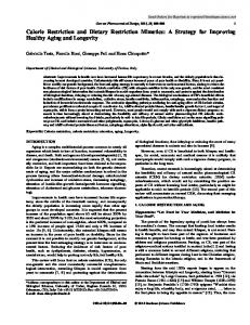 Calorie Restriction and Dietary Restriction Mimetics: A ...