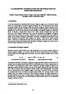 Calorimetric investigation of the formation of Grignard reagents