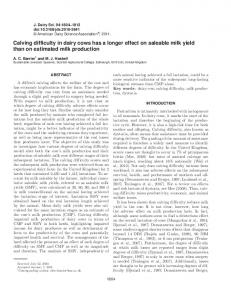 Calving difficulty in dairy cows has a longer effect on saleable milk