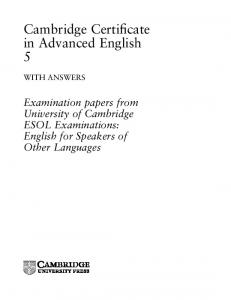 Cambridge Certificate in Advanced English 5 - Assets