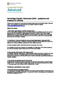 Cambridge English: Advanced (CAE) – questions and answers for ...