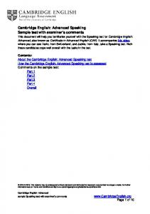 Cambridge English: Advanced Speaking Sample test with ...
