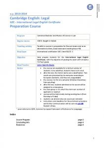 Cambridge English: Legal Preparation Course