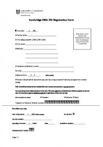 Cambridge ESOL FCE Registration Form - Language Solutions ...