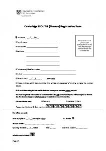 Cambridge ESOL YLE _Movers_ Registration Form 2012
