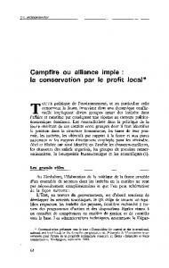 Campfire ou alliance impie : la conservation par le profit local