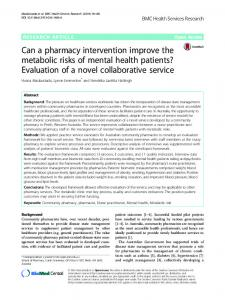 Can a pharmacy intervention improve the metabolic risks of mental ...