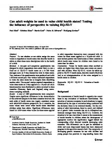 Can adult weights be used to value child health states ... - Springer Link