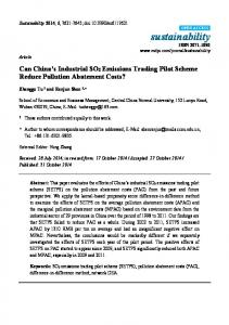 Can China's Industrial SO2 Emissions Trading