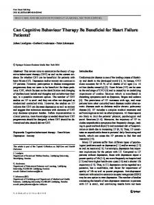 Can Cognitive Behaviour Therapy Be Beneficial for ...