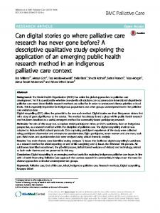 Can digital stories go where palliative care ... - BMC Palliative Care