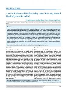 Can Draft National Health Policy-2015 Revamp Mental Health System