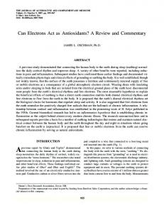 Can Electrons Act as Antioxidants? A Review and ... - CiteSeerX