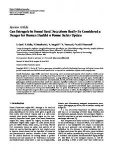 Can Estragole in Fennel Seed Decoctions Really Be Considered a ...