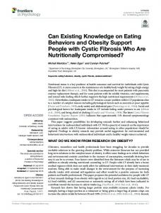 Can Existing Knowledge on Eating Behaviors and Obesity Support ...
