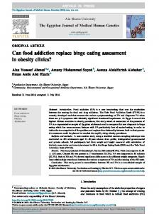 Can food addiction replace binge eating assessment in obesity ... - Core