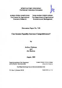 Can Income Equality Increase Competitiveness? - AgEcon Search