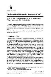 Can International Commodity Agreements Work?