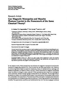 Can Magnetic Monopoles and Massive Photons ...