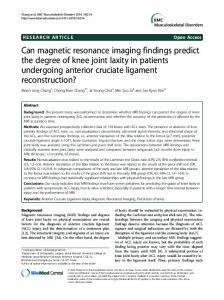 Can magnetic resonance imaging findings predict the ... - BioMedSearch