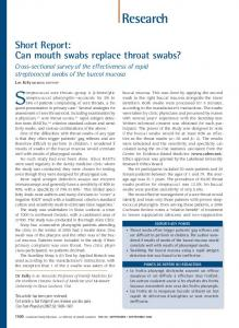 Can mouth swabs replace throat swabs?