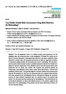 Can Public Health Risk Assessment Using Risk Matrices Be ... - MDPI