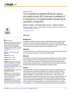 Can smartphone wireless ECGs be used to