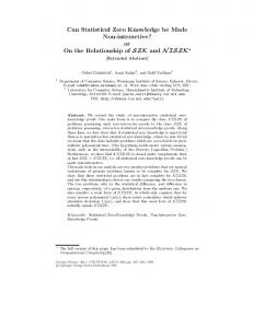 Can Statistical Zero Knowledge be Made Non ... - Springer Link