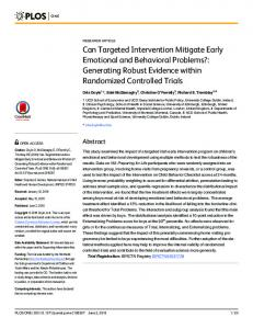Can Targeted Intervention Mitigate Early