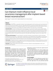 Can titanium mesh influence local recurrence