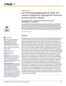 Can treefrog phylogeographical clades and species ... - PLOS