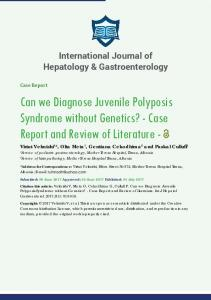 Can we Diagnose Juvenile Polyposis Syndrome ...