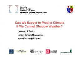 Can We Expect to Predict Climate If We Cannot ...