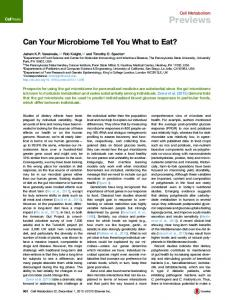 Can Your Microbiome Tell You What to Eat?