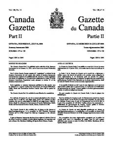 Canada Gazette (du Canada), Part - Publications du gouvernement ...