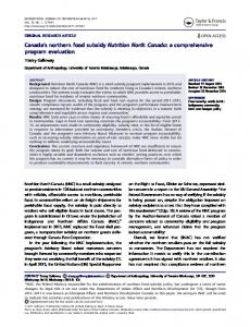Canada's northern food subsidy Nutrition North