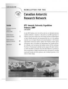 Canadian Antarctic Research Network - Canadian Polar Commission