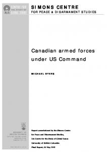Canadian armed forces under US Command - Liu Institute for Global ...