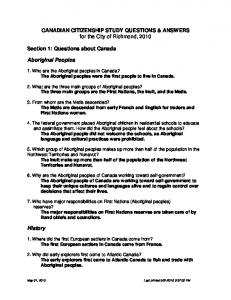 CANADIAN CITIZENSHIP STUDY QUESTIONS & ANSWERS for the ...