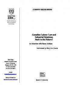 Canadian Labour Law and Industrial Relations: Back to the Future ...
