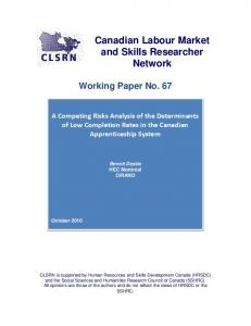 Canadian Labour Market and Skills Researcher Network ... - CLSRN