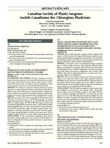 Canadian Society of Plastic Surgeons / Groupe pour L ... - Pulsus Group