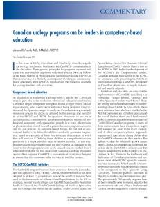 Canadian urology programs can be leaders in competency-based ...