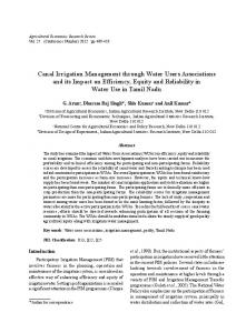 Canal Irrigation Management through Water Users ... - AgEcon Search