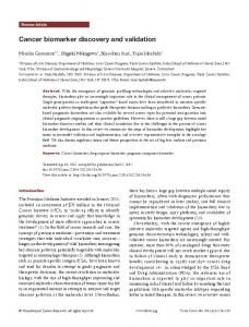 Cancer biomarker discovery and validation - Translational Cancer ...