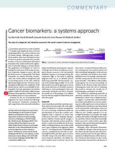 Cancer biomarkers: a systems approach - Library