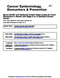 Cancer Biomarkers in Women with Stage III or IV ...